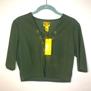 H&M army green lace up crop top NEW